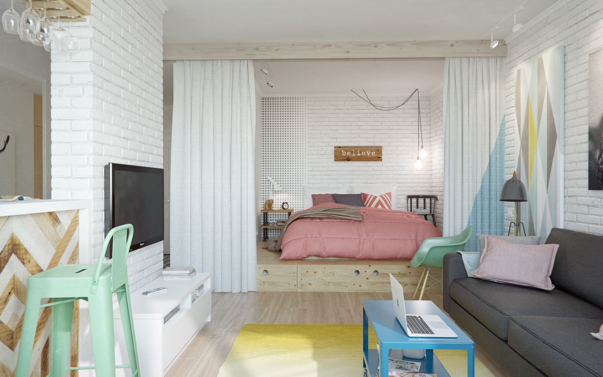 Интерьер маленькой комнаты: 15 фото