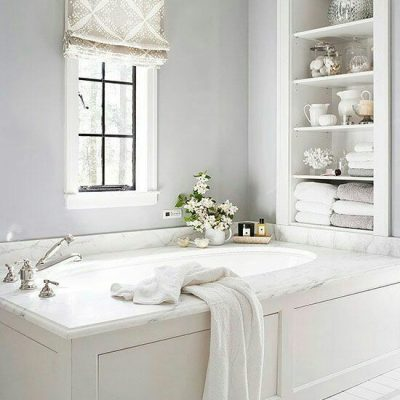 римская штора в ванной ромб