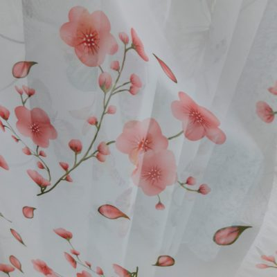 тюль цветок розовый