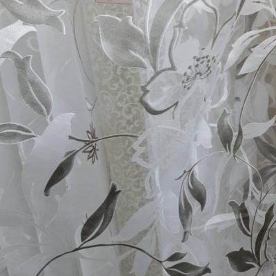 тюль белая цветок