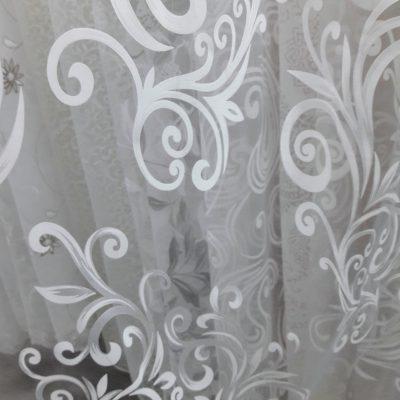 тюль с рисунком белая