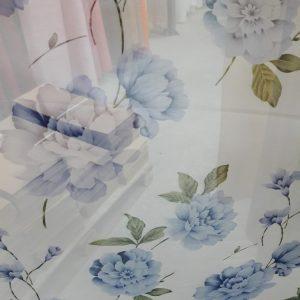 тюль синий цветок