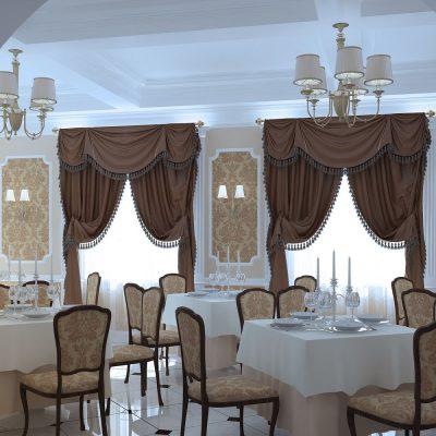 классические шторы для ресторана